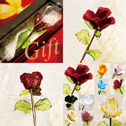 Item778 箱入り ヴェネチアンガラス ローズ ガラスの薔薇 レッド