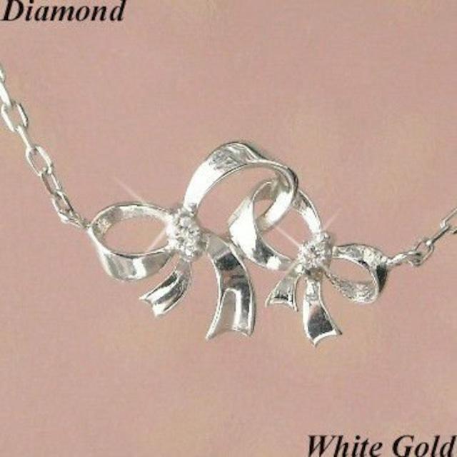 ダイヤモンド ネックレス リボン 10金ホワイトゴールド レディース