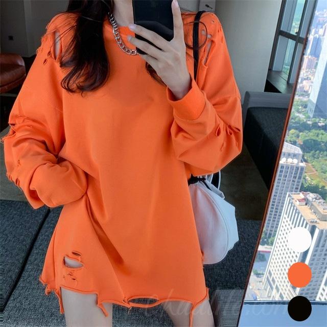 【トップス】韓国系ラウンドネック長袖ダメージ加工プルオーバーTシャツ42895691