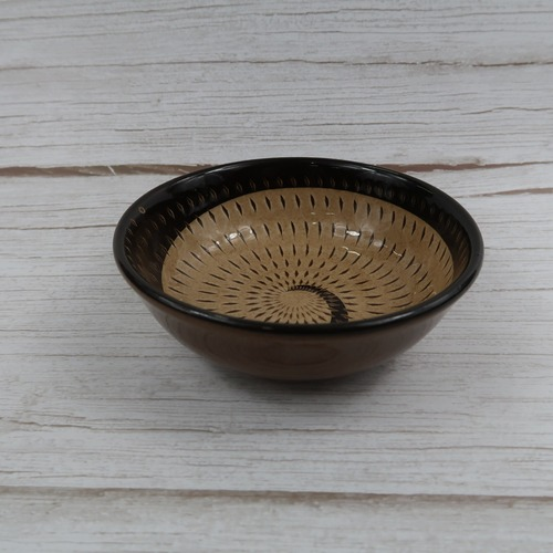 小石原焼 4寸小鉢 トビカンナ 茶黒 鶴見窯