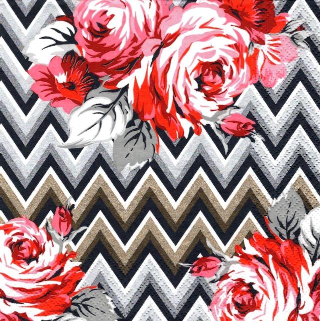 2021秋冬【Maki】バラ売り2枚 ランチサイズ ペーパーナプキン Roses on a Gold and Silver Zig Zag ブラック
