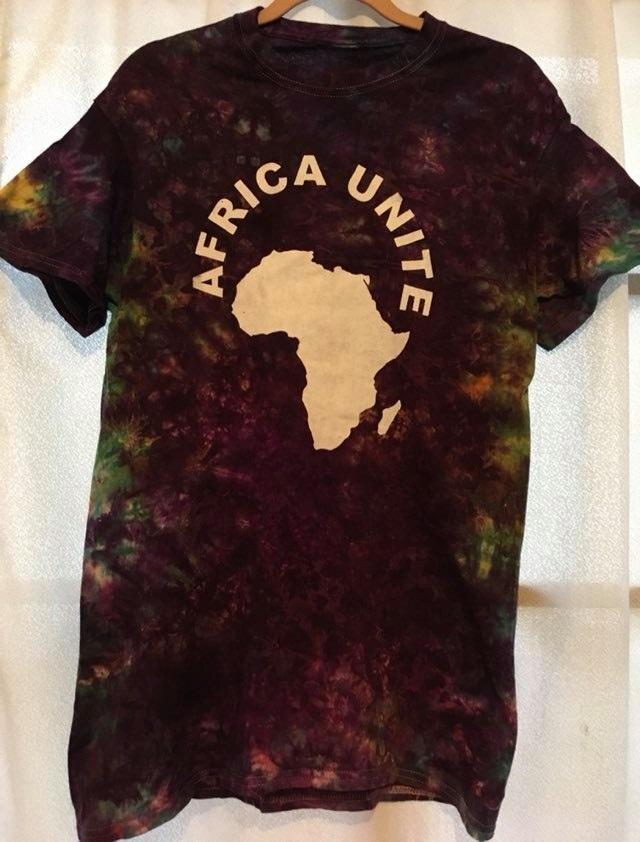 ガーナの手染めTシャツ【S】 AFRICA UNITE-⑬