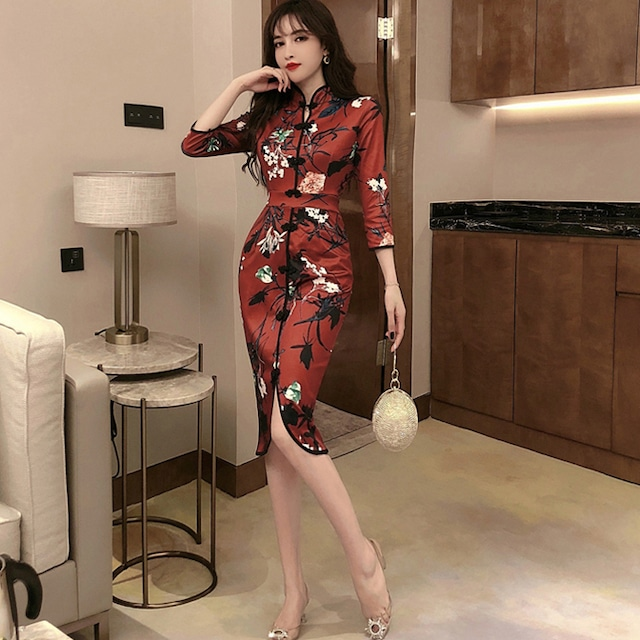 セクシーチャイナドレス ショートワンピース S M L 成人式 パーティー レット 赤い スリット 花柄