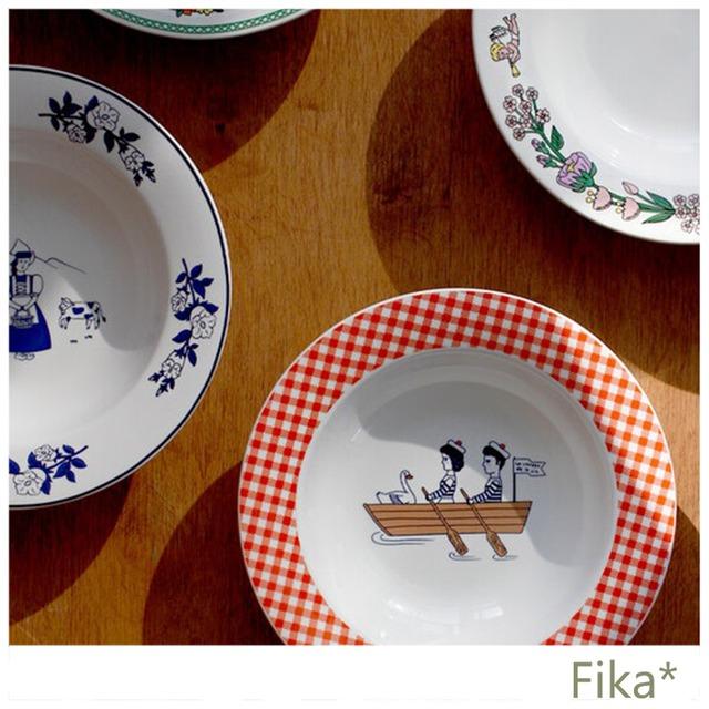 韓国雑貨★1537★キュートな人気!イラストパスタ皿 5種類