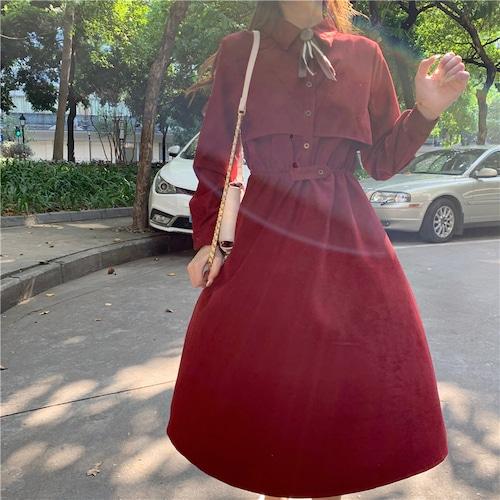 3色/リボンタイヨークデザインワンピ ・18640