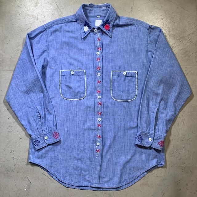 50's ~ OK UNIFORM NEW YORK シャンブレーシャツ 刺繍カスタム ハンドステッチ ワークシャツ  希少 ヴィンテージ BA-1512 RM1931H