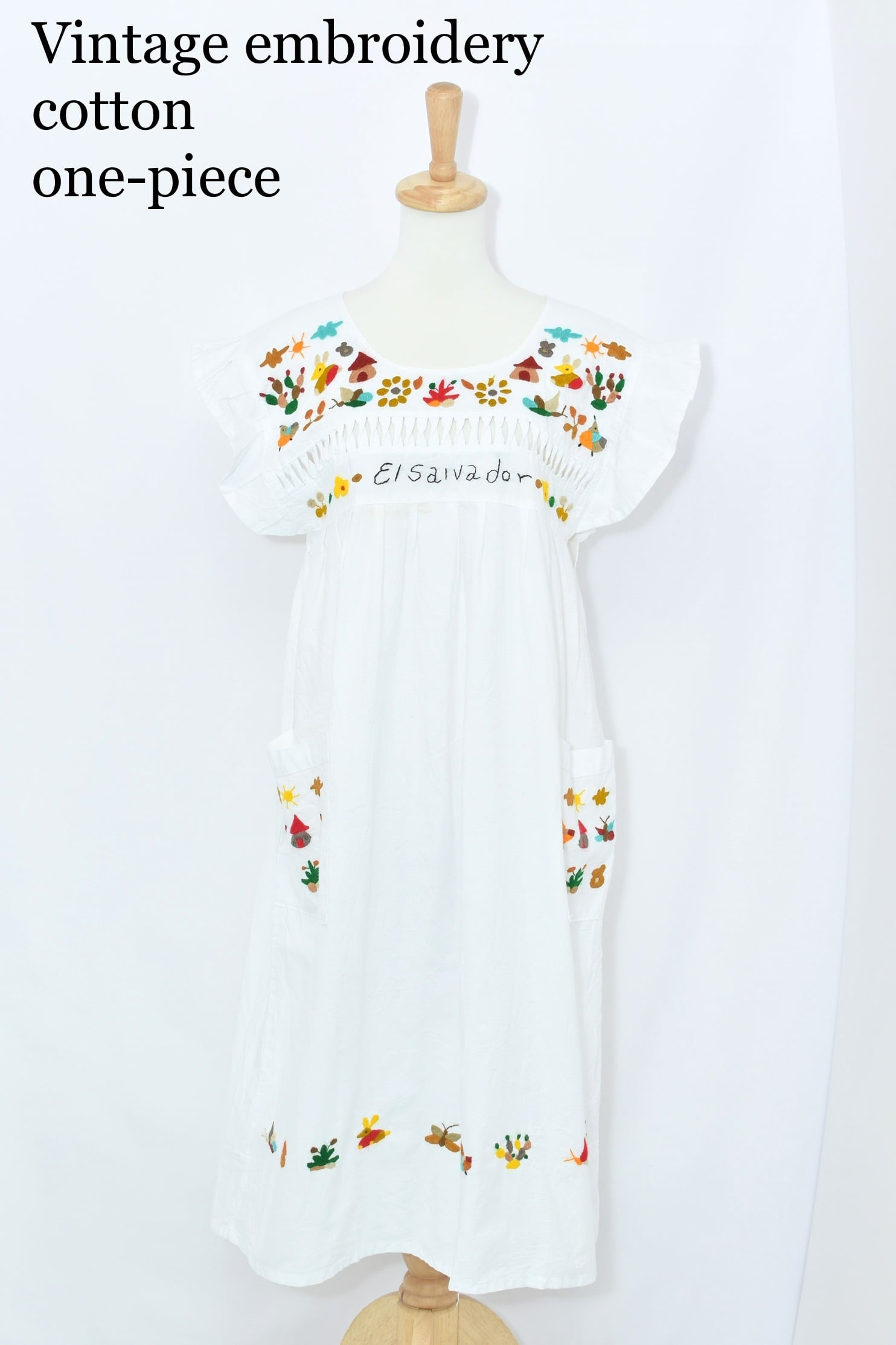vintage embroidery cotton one-piece