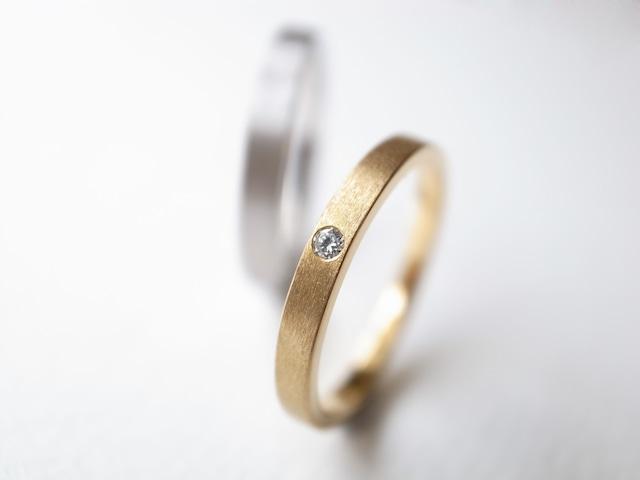 【pairing・stamp】K18YG Diamond・Pt900/thin ring