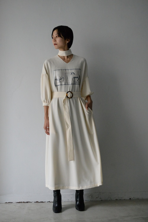 MIKAGE SHIN / Horse Choker Dress (ivory)