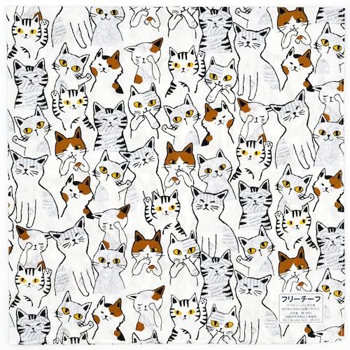 猫ナプキンバンダナ(ニャンコいっぱい)ホワイト