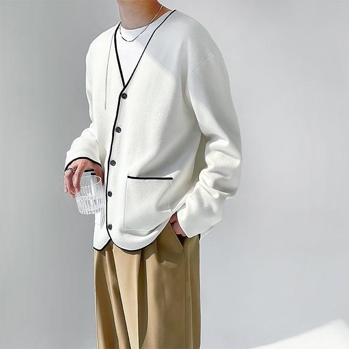 Wool Lining V-neck cardigan   b-453