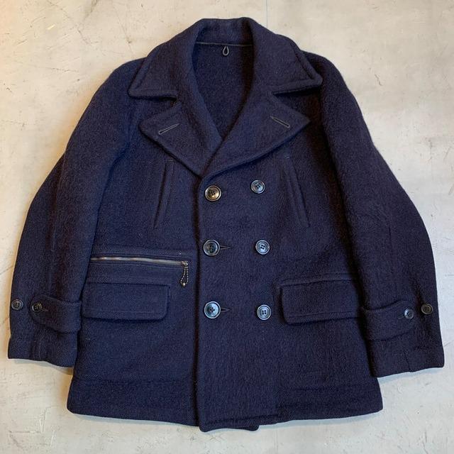 30's~ UNKNOWN ダブルブレストウールジャケット ネイビーショートPコート カスタムポケット TALONボールチェーンジッパー M位 希少 ヴィンテージ BA-1263 RM1632H