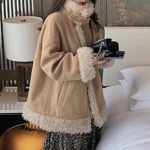 【アウター】韓国風長袖ルーズスタンドネック無地寒さ対策コート52726614