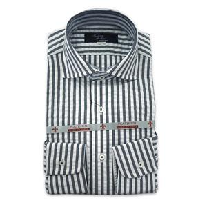 国産カーブワイドカラーシャツ ストライプ