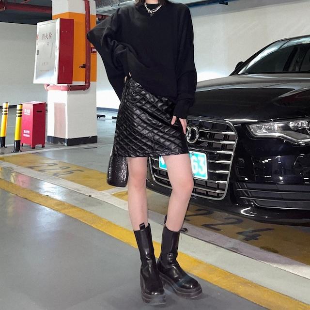フェイクレザー網目タイトスカート(全2色) / HWG400