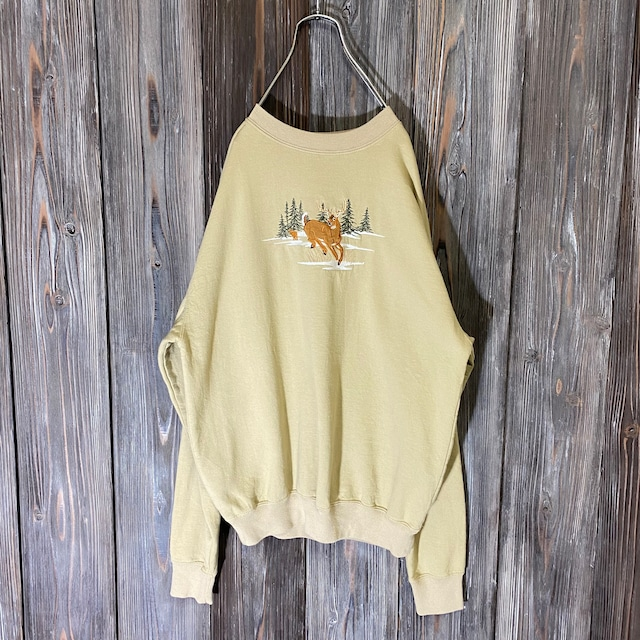 [used]deer embroidery cream color sweat