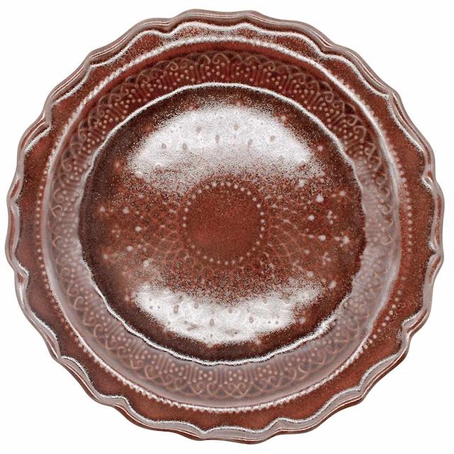 益子焼 わかさま陶芸 「フレンチレース」 プレート 皿 L 約23cm ブラウン 255985