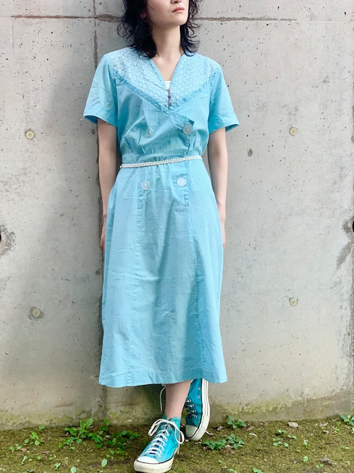 1930's 〜 40's Vintage Gingham Embroidered Dress