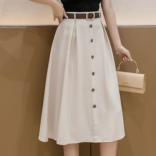 ベルト付きフロントボタンスカート*SK2021003i