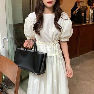 waist pleats design one-piece(white)