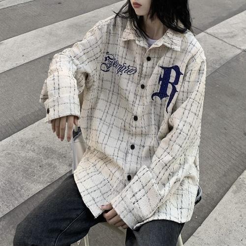 刺繍チェックルーズシャツ RD9578