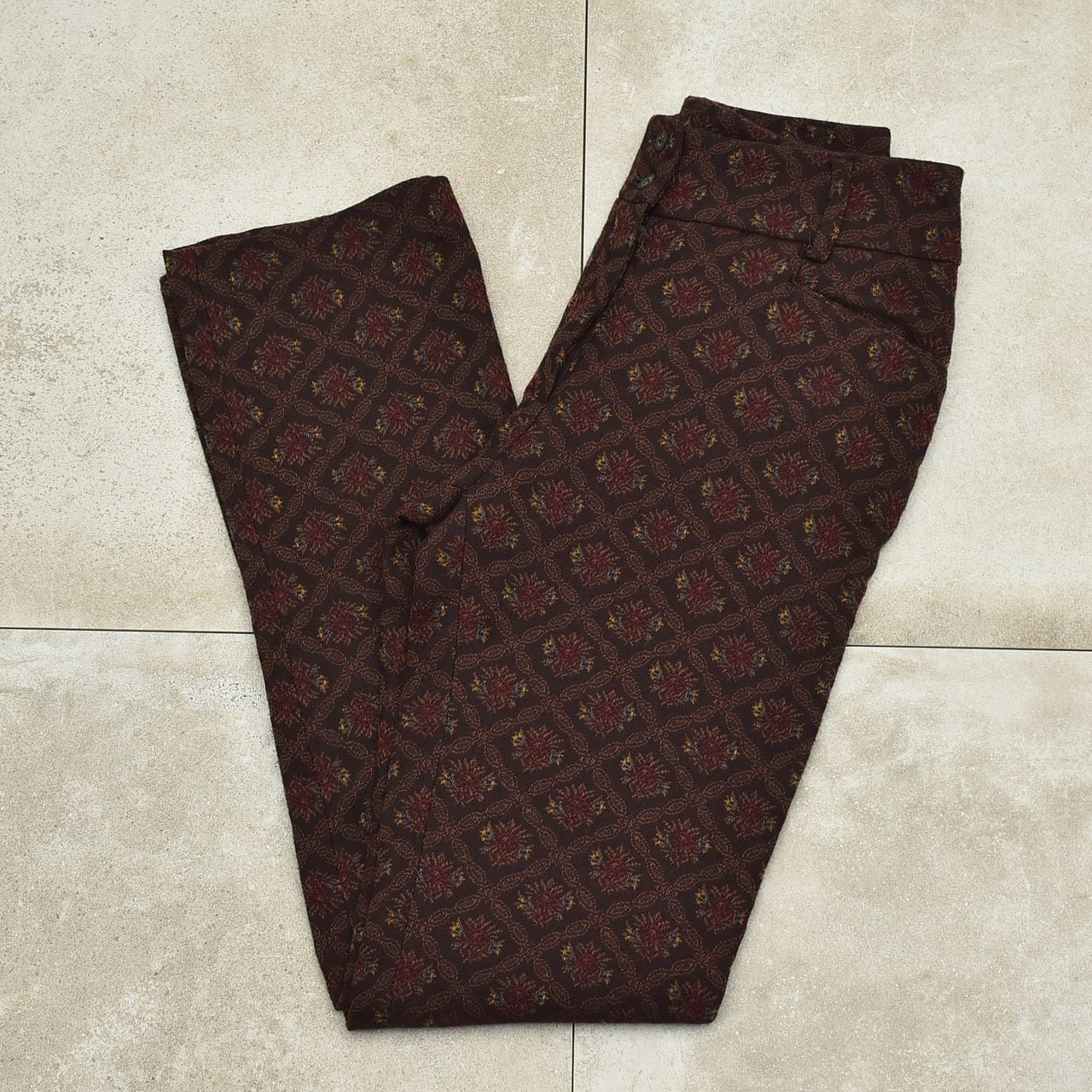 Arabesque jacquard pattern retro slacks