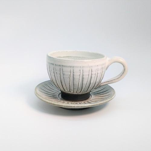 カップ&ソーサー(シノギ)A 【仁 陶器工房】