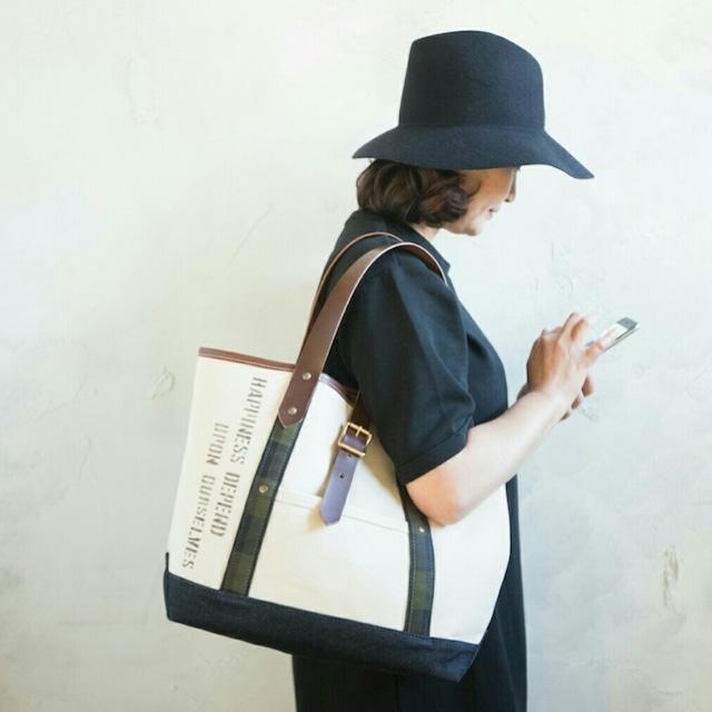 キナリ帆布×デニム レザーハンドル(こげ茶)トートバッグ Mサイズ