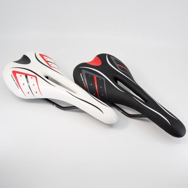 自転車ロードバイク/クロスバイクサドル 色:ブラック/ホワイト・サイズ:27.5×13.5cm