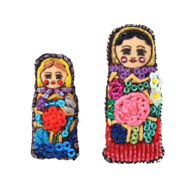 刺繍ミニブローチマトリョーシカ