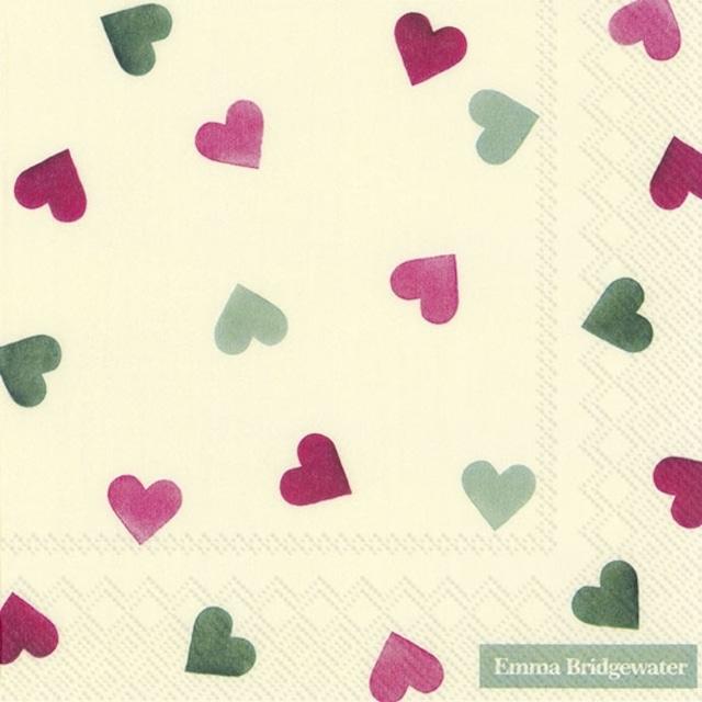 【Emma Bridgewater】バラ売り2枚 ランチサイズ ペーパーナプキン TINY HEARTS クリーム