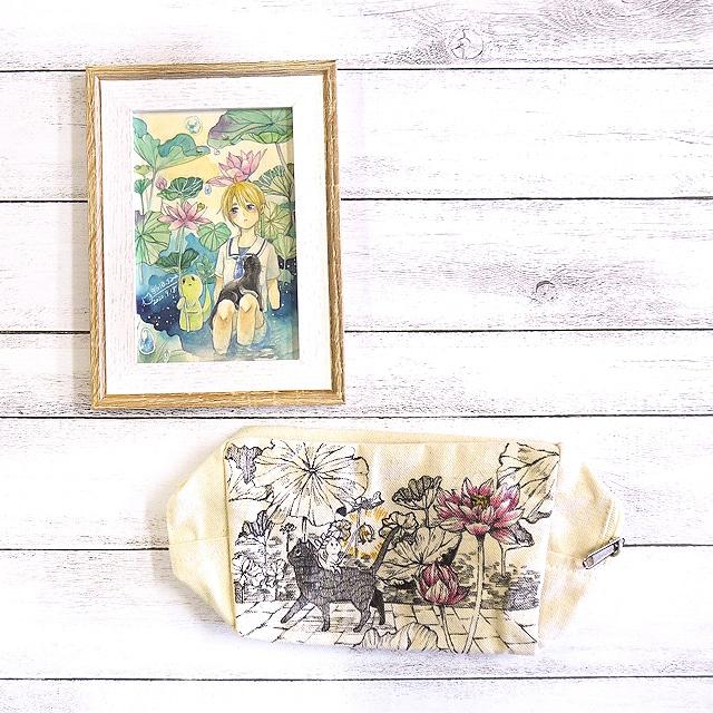 未央様専用【嶋波誌麻】蓮と黒猫オーダーセット/イラスト原画&手描きポーチ
