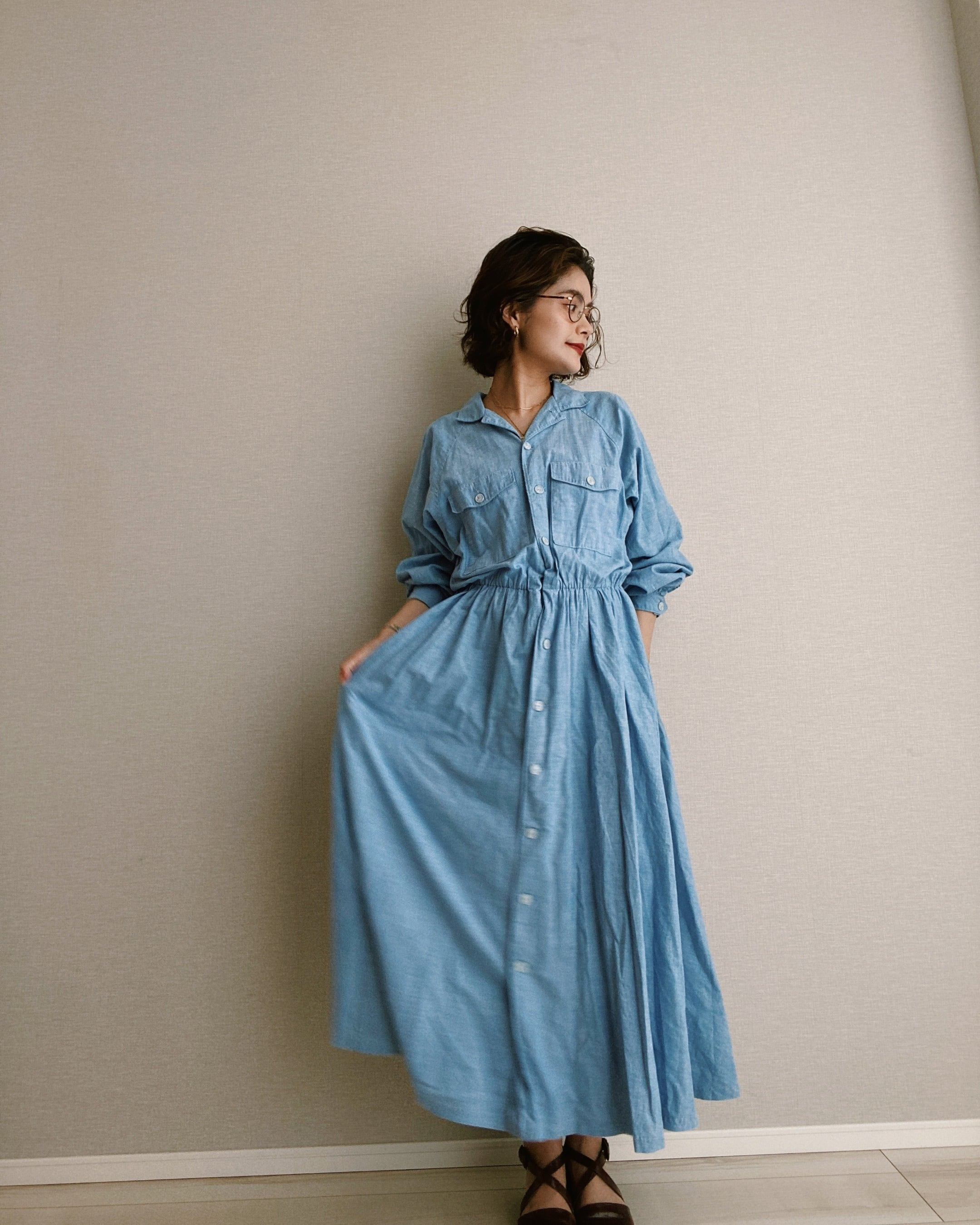 (OP009)Chambray one piece