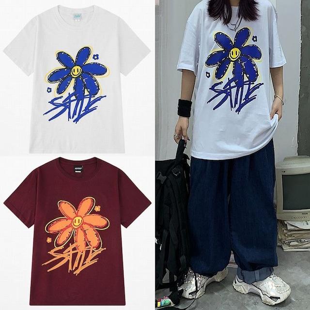 ユニセックス Tシャツ 半袖 メンズ レディース 落書き風 スマイル ニコちゃん フラワープリント オーバーサイズ 大きいサイズ ルーズ ストリート TBN-612438889881