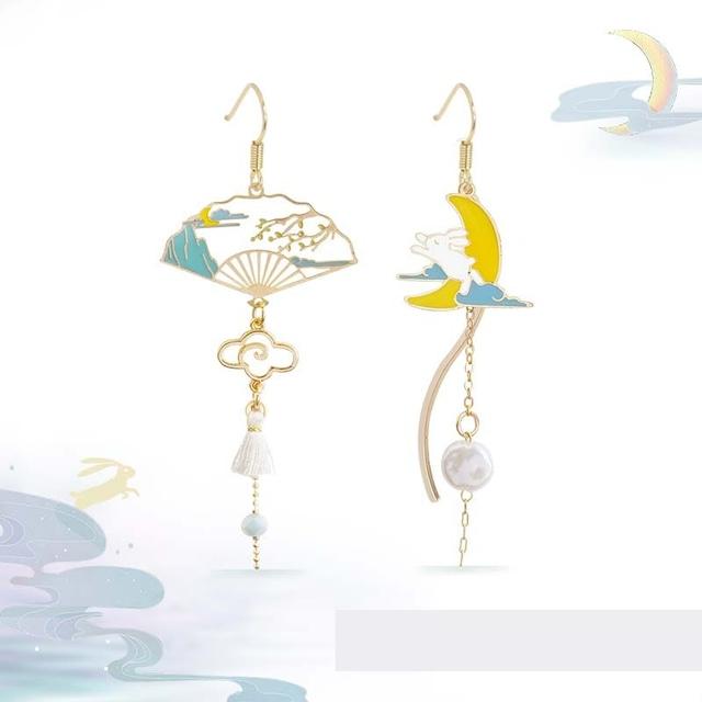 ピアス 耳飾り チャイナ風アクセサリー オリジナル 民族風 パーティー プレゼント 兎と月 不規則