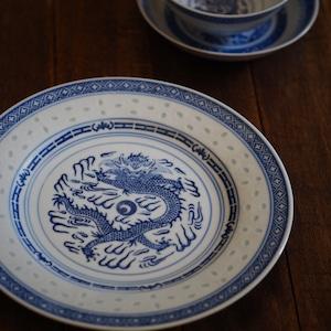 『ドラゴンの丸皿23センチ/Blue&White』景徳鎮/ホタル