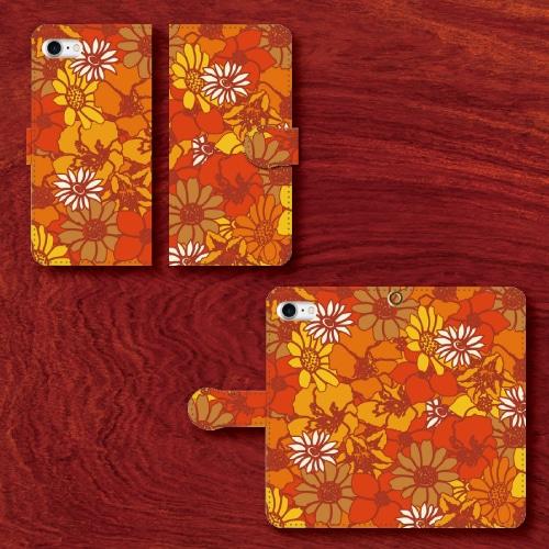 昭和レトロ/レトロポップ/花柄/赤・橙・茶/iPhoneスマホケース(手帳型ケース)