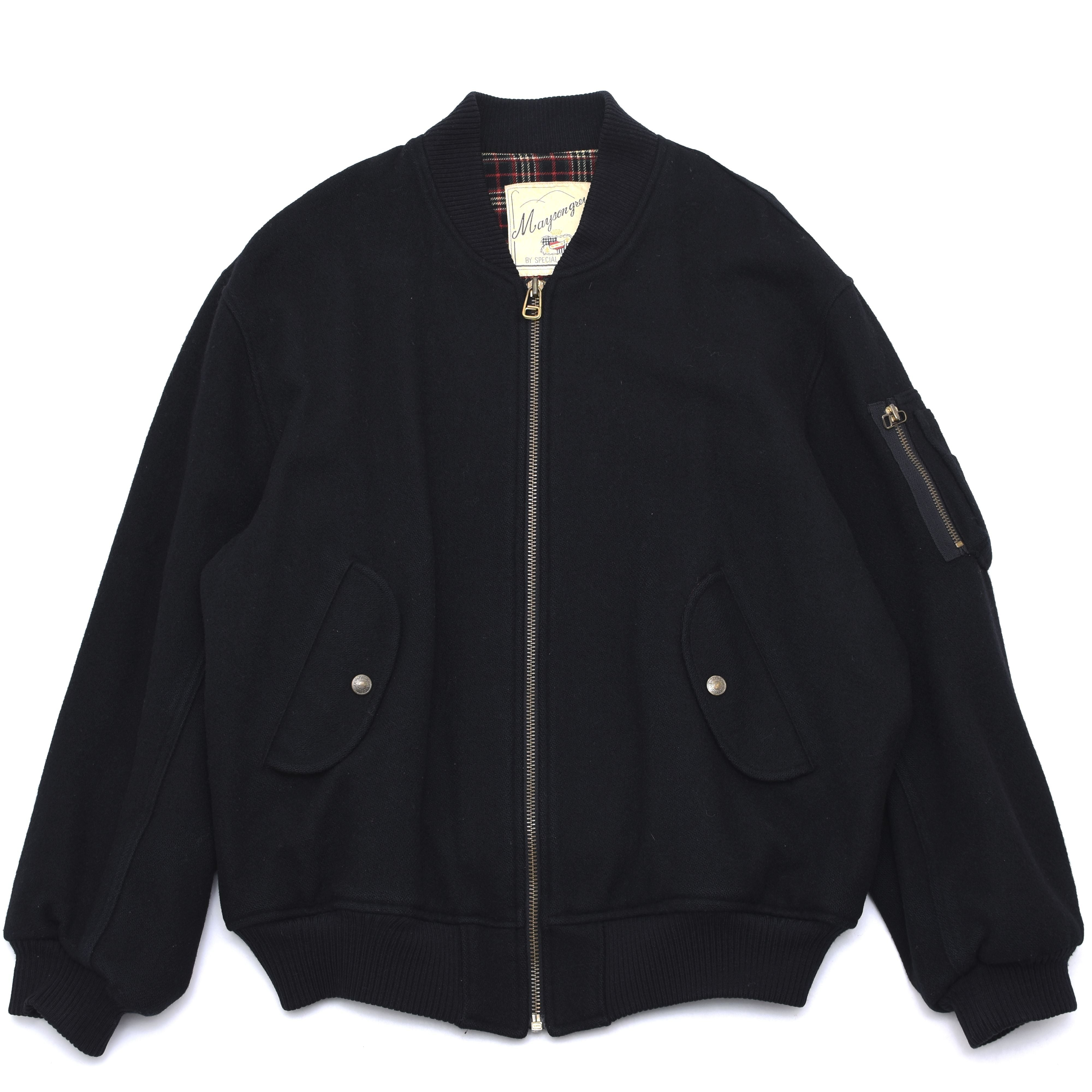 Old black wool bomber jacket