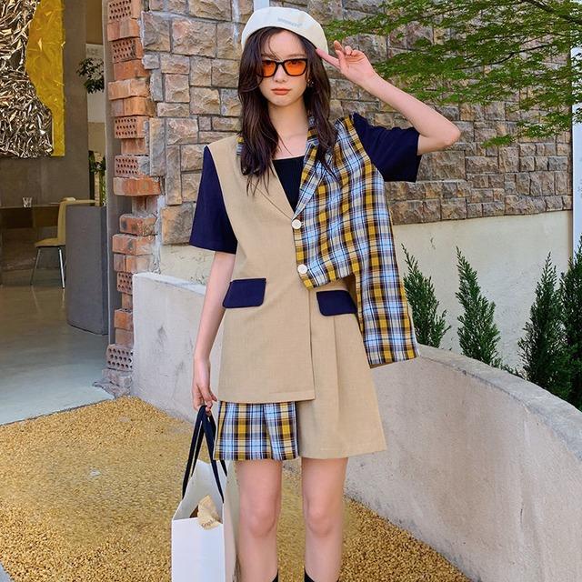 【セット】チェック柄ファッション個性派半袖シャツ+ショートパンツ2点セット45777250