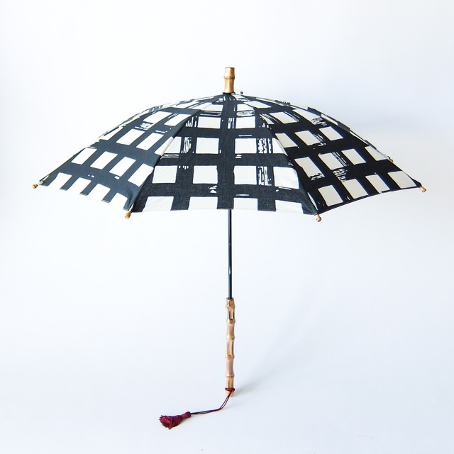 傳 tutaee - ツタエノヒガサ きつねのたすき - 長日傘 - 黒升
