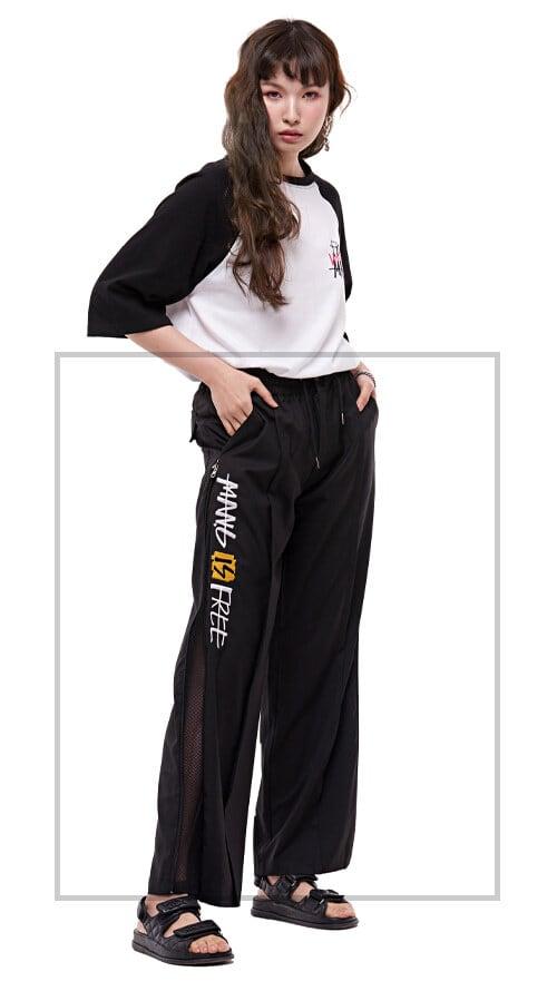 【MAN-G】ポイント英字刺繍サイドダブルジップメッシュレイヤードスラックスパンツ