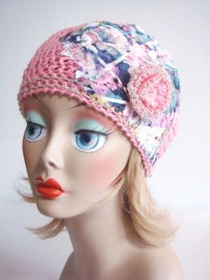 レース付きベレー帽 <ピンク>