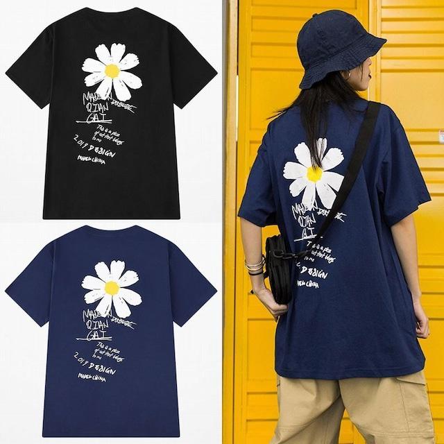 ユニセックス 半袖 Tシャツ メンズ レディース 英字 花 フラワープリント オーバーサイズ 大きいサイズ ルーズ ストリート TBN-596627847023