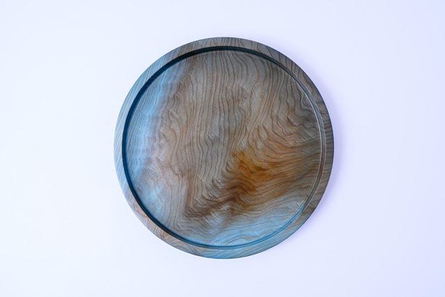 【舞工房】藍舞皿 薄染め 天然杉26cm