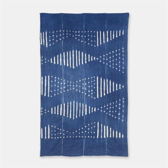 ブルキナファソ モシ族 ヴィンテージの藍染め布 絞り SLI014