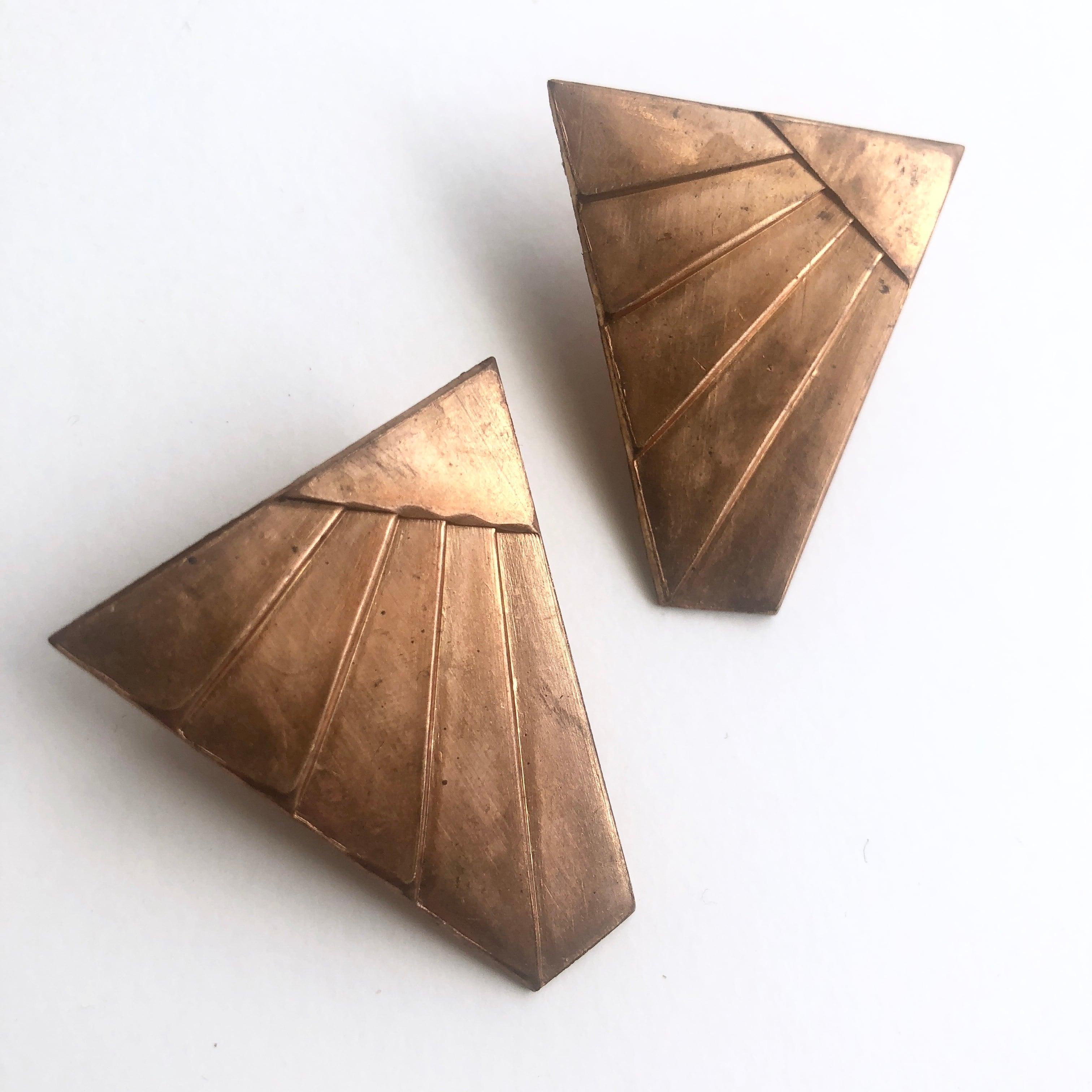 Raw Brass wing earrings B-016