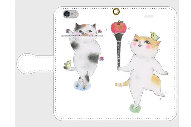 (iPhone用)フルート猫とクラリネット猫の手帳型スマホケース
