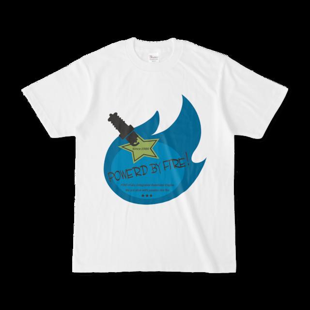 Powerd by fire デザインTシャツ(ブルー)