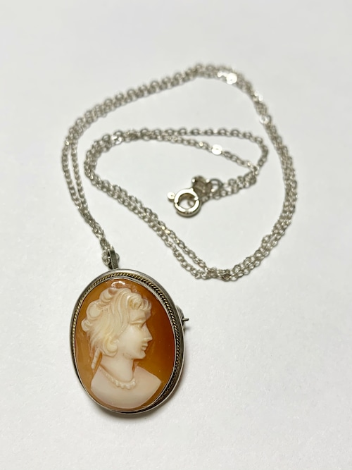 Vintage 800Silver Shell Cameo Pin Brooch/Pendant Top With Chain Made In Italy
