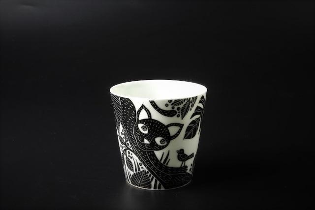 遊び猫カップ(黒) 波佐見焼